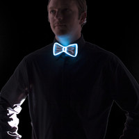 White Light Up Bow Tie