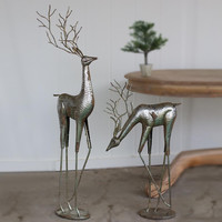 (Set of 2) Antique Silver Metal Deer