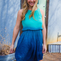 Crashing Waves Dress - Aqua