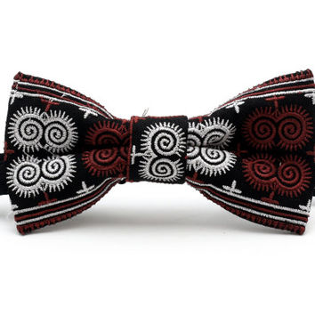Hmong Tribal dark red/white bow tie