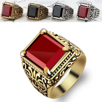 4 Colors Gold Man Punk Resin Crystal totem Four Claw Rings