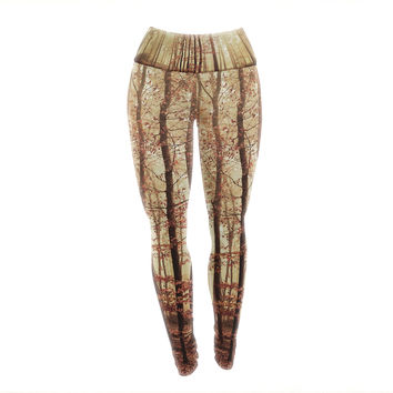 "Iris Lehnhardt ""Autumn Again"" Brown Yoga Leggings"
