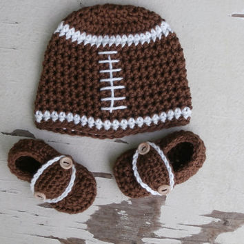 baby boy football hat, baby boy crochet set, crochet hat and booties, baby shower gift