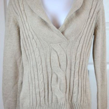 Eddie Bauer Sz Small Sweater Shawl Neck Cotton Blend Beige Warm Top