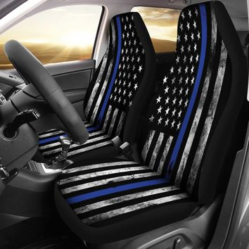 Thin Blue Line Seat Covers for Trucks and Cars