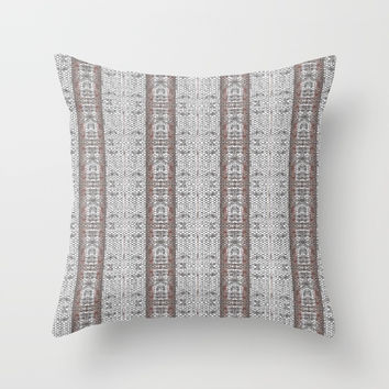 Vintage Grey White Mosaic Striped Pattern Throw Pillow by Sheila Wenzel