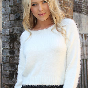 Clueless White Fluffy Knit Jumper