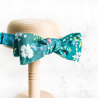 Hanamel Handmade Teal Floral Straight Bow Tie - Garden Wedding Bow Tie - Turquoise Flower Bow Tie  - Green Floral Bow Tie