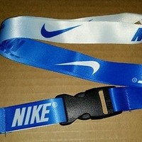 NIKE LANYARD, BLUE/WHITE, NEW, TWO LANYARDS IN ONE.