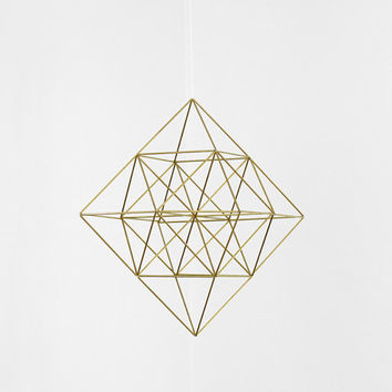 Brass Himmeli Diamond / Hanging Mobile / Geometric Sculpture / Modern Home Decor