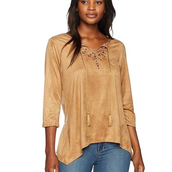 Ruby Rd. Women's Petite Embroidered Lightweight Stretch Suede Tunic Top