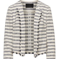 Bouclé Stripe Jacket with Frayed Edges|banana-republic