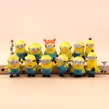 (12pcs/lot) Minion Miniature Figurines Toys Cute Lovely Model Kids Toys 3cm PVC Anime Children Figure