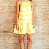 York Ruffle Dress - Yellow