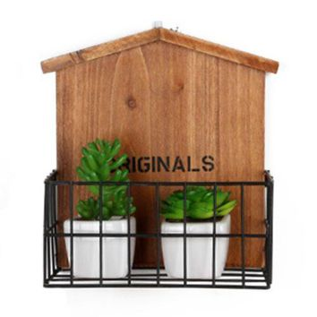 House Shape Iron Storage Basket Wall Decoration