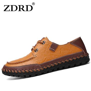ZDRD Men CasualShoes Slip On Flat Loafers SpringSummer Handmade Genuine Leather Boat Men oxford Flats Driving Creepers men Shoes