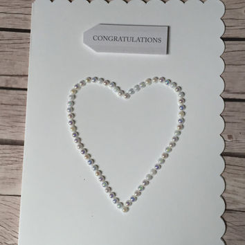Stunning pearl heart cards engagement cards congratulations cards with love cards 3d cards personalised cards