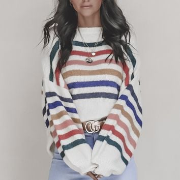 Lollipop Oatmeal Striped Sweater