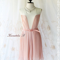 Sweet Marie Dress II - Two Tone Pleated Dress Prom Party Cocktail Birthday Valentines Dress Vanilla With Pale Pink Beige Color
