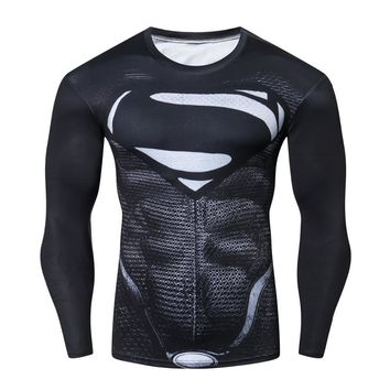 Batman Dark Knight gift Christmas Roleplay Batman VS Superman Men's Sports T-shirt Compression Shirt 3D Print Long-sleeved Cosplay crossfit Black Tees Gym MMA Top AT_71_6