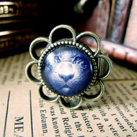 Cute Tiger Face Design Ring , Antique Brass Ring , Steampunk Ring , Adjustable Ring , with a Gift Box