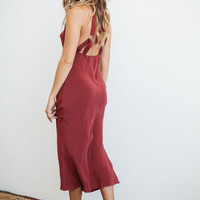 Stone Cold Fox Sutter Gown in oxblood red