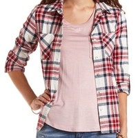 Plaid Flannel Button-Up Top by Charlotte Russe - Ivory Combo