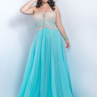 Plunging Sweetheart Plus Size Too Prom Dress by Blush 11097W