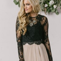 Amelie Longsleeve Black Lace Crop Top
