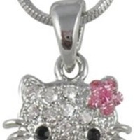 """Small Adorable 1/2"""" Crystal Kitty Pendant and Necklace with Pink Flower Bow Silver Tone for Girls Teens"""