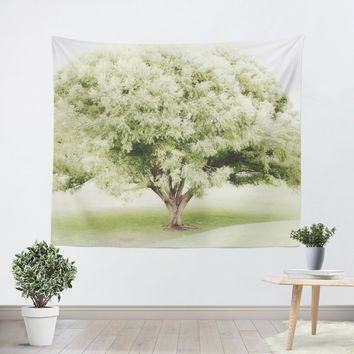 Soft Green Tree Tapestry