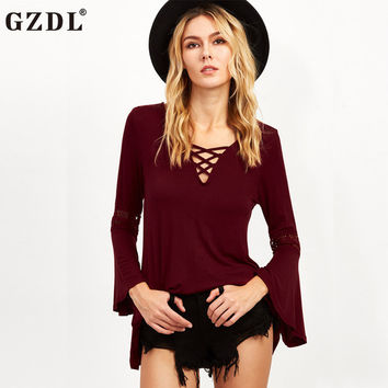 Sexy Clubwear Burgundy Flare Sleeves Ruffles Women Blouse Long Sleeve V Neck Fashion Solid Women's Autumn Blusas Tops CL3317