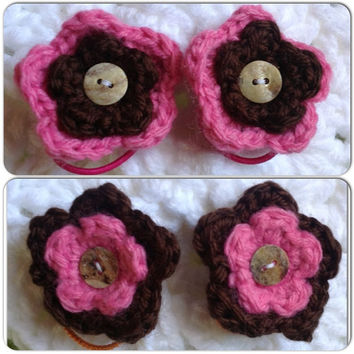 Hand Crochet Flower Hair Ties- Pair- Cute as a Button Pony Tail Holders with Sea Shell Buttons Chocolate Brown & Bubblegum Pink Set of 2