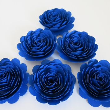 "Royal Blue Roses, Big 3"" Blooms, Set of 6, Wedding Flowers, Bridal Shower Decor, Baby Nursery, Event Planning Floral Decorations, Paper"