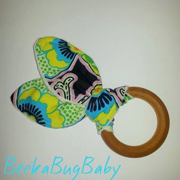 Natural Organic Treated Wooden Teething Ring, Bunny Ear Teething Ring, Amy Butler, Baby Girl, Baby Shower Gift