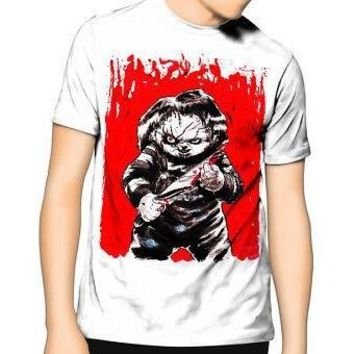 NEW T Shirt Cult of Chucky in blood Horror Movie Adult Tee Graphic S-5XL