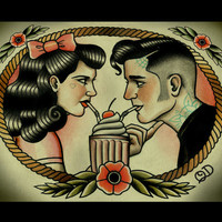 Rockabilly Sweethearts Art Print