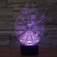 Starwars Millennium Falcon 3D Lights Acrylic LED Multi-color Gradient Lamp [6282452550]