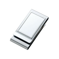 MG Gifts Metal Chrome Plated - Two Sided Money Clip In Black Gift Box With Pearl Cloth Card Board Insert