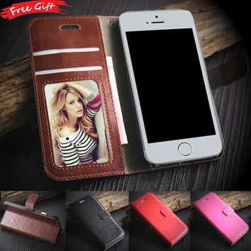 Leather Case For iphone SE Flip Fashion Photo frame Card Holder Cover for iphone 5