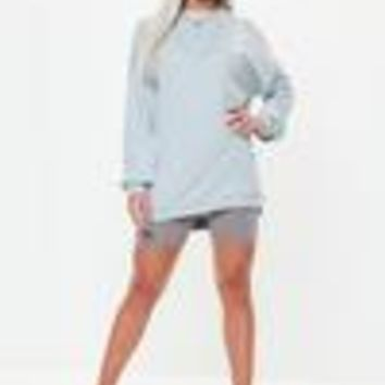 Missguided - Blue Long Sleeve Sweater Dress