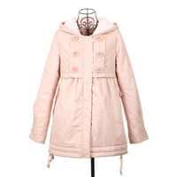 Pink Hooded Double Breasted Long Sleeve Coat