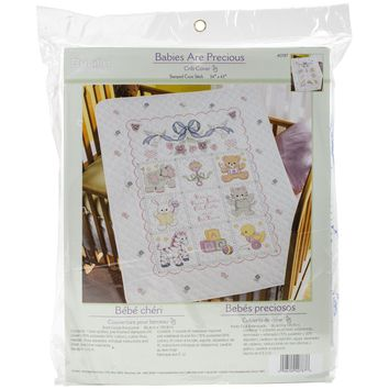 "Babies Are Precious Bucilla Stamped Crib Cover Cross Stitch Kit 34""X43"""