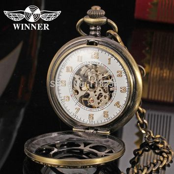 T-Winner Men's Mechanical Skeleton WatchClassic Brand Pocket  Watch Brass Cowboy Chain Gold Color  Best Gift WRG8018M5AB1