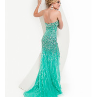 Jasz Couture 2014 Prom -Strapless Aqua Feather Gown With Rhinestones