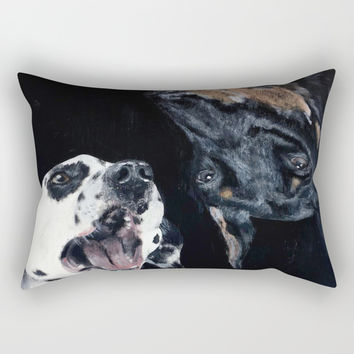 Contrasting Dogs Rectangular Pillow by Yuval Ozery