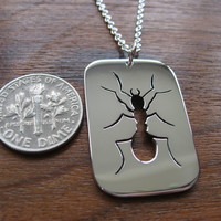 Silver Ant Insect Pendant Necklace