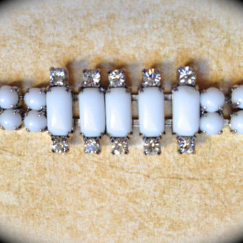 Vintage milk glass/rhinestone bracelet- White Bridal Bracelet- Vintage Jewelry- Bracelet Antique Costume Jewelry- Art Deco Bracelet