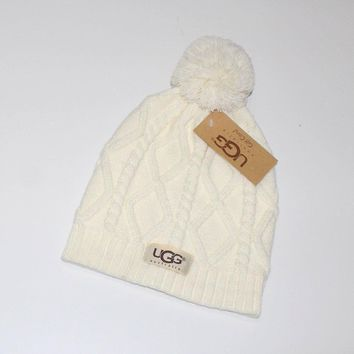 Ugg Women Embroidery Beanies Knit Hat Warm Woolen Hat-5