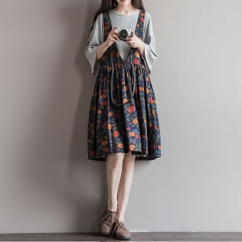 COTTON AND LINEN PRINTED STRAP SKIRT DRESS IN THE LONG PARAGRAPH DRESS